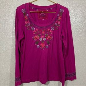 Johnny Was Knit Long Sleeve Embroidered Top